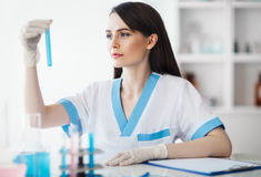 Χημική θηλυκή φιάλη εκμετάλλευσης ερευνητών στο εργαστήριο στοκ εικόνες