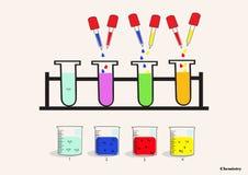Χημική κούπα, dropper, σωλήνας δοκιμής, επιστημονικά πειράματα Στοκ Φωτογραφία