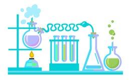 Χημικός εξοπλισμός εργαστηρίων επιστήμης Σωλήνες δοκιμής, φιάλες, spiritlam vectot απεικόνιση αποθεμάτων