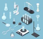 Χημικός εργαστηριακός εξοπλισμός isometric Εξοπλισμός χημείας φιαλών μικ ελεύθερη απεικόνιση δικαιώματος