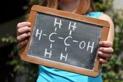 Χημικός τύπος για την αιθανόλη Στοκ φωτογραφία με δικαίωμα ελεύθερης χρήσης