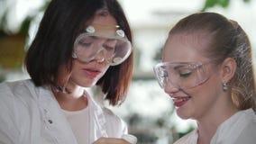 χημικό εργαστήριο Δύο νέες γυναίκες που κρατούν μια φιάλη με το ρόδινο υγρό σε το απόθεμα βίντεο