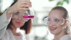 χημικό εργαστήριο Δύο νέοι τεχνικοί εργαστηρίων που κρατούν μια φιάλη με το ρόδινο υγρό σε το που τινάζει ελαφριά το απόθεμα βίντεο