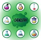 χημικό εργαστήριο εικόνας γυαλικών που τονίζεται Στοκ Φωτογραφία