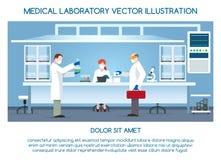 Χημικό ερευνητικό εργαστήριο με τους επιστήμονες απεικόνιση αποθεμάτων