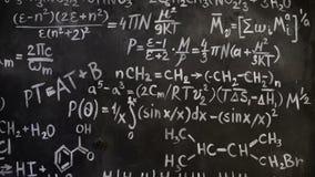 Χημικό και μαθηματικό υπόβαθρο δωματίων τοίχων εξισώσεων διανυσματική απεικόνιση