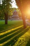 Χιλιετία μνημείων της Ρωσίας στο ηλιοβασίλεμα άνοιξη, Veliky Novgorod, Ρωσία Στοκ φωτογραφίες με δικαίωμα ελεύθερης χρήσης