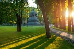 Χιλιετία μνημείων της Ρωσίας το ηλιόλουστο βράδυ, Veliky Novgorod, Ρωσία Στοκ εικόνες με δικαίωμα ελεύθερης χρήσης