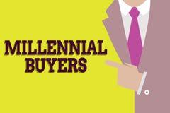 Χιλιετείς αγοραστές κειμένων γραφής Έννοια που σημαίνει τον τύπο καταναλωτών που ενδιαφέρονται για τα τείνοντας προϊόντα ελεύθερη απεικόνιση δικαιώματος