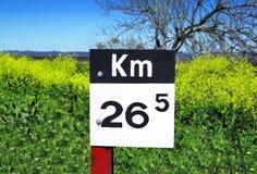 χιλιόμετρα μετα σημαδιών στοκ φωτογραφία