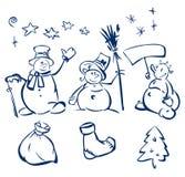 χιονάνθρωποι διασκέδασης στοιχείων σχεδίου ελεύθερη απεικόνιση δικαιώματος