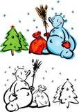 χιονάνθρωποι διασκέδασης στοιχείων σχεδίου διανυσματική απεικόνιση