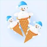 Χιονάνθρωποι στο παγωτό Στοκ Εικόνα