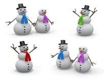 χιονάνθρωποι διακοπών Στοκ Φωτογραφία