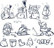 χιονάνθρωποι santa διασκέδα&sigma διανυσματική απεικόνιση