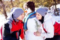 χιονάνθρωπος ζευγών Στοκ Φωτογραφία