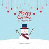 Χιονάνθρωπος (κάρτες Χριστουγέννων) Στοκ Φωτογραφίες