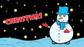 Χιονάνθρωπος και αστέρια Χριστουγέννων απεικόνιση αποθεμάτων