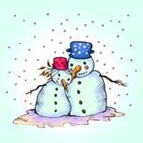 Χιονάνθρωπος και η φίλη του ερωτευμένοι Στοκ Εικόνες