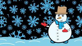 Χιονάνθρωπος και μπλε snowflakes διανυσματική απεικόνιση
