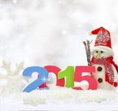 Χιονάνθρωπος και νέο έτος 2015 Στοκ Εικόνες