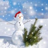 Χιονάνθρωπος και χιονοθύελλα στοκ εικόνες με δικαίωμα ελεύθερης χρήσης