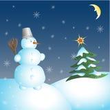 Χιονάνθρωπος και χριστουγεννιάτικο δέντρο Στοκ Εικόνες