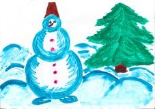 Χιονάνθρωπος και χριστουγεννιάτικο δέντρο, σχέδιο παιδιών διανυσματική απεικόνιση
