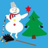 Χιονάνθρωπος και χριστουγεννιάτικο δέντρο απεικόνιση αποθεμάτων