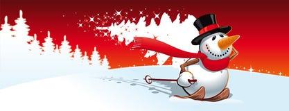 Χιονάνθρωπος και χριστουγεννιάτικο δέντρο ελεύθερη απεικόνιση δικαιώματος