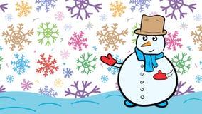 Χιονάνθρωπος και χρώμα snoflakes απεικόνιση αποθεμάτων