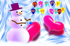 Χιονάνθρωπος και δύο κόκκινες καρδιές Στοκ Εικόνα