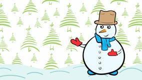 Χιονάνθρωπος και fir-tree Χριστουγέννων διανυσματική απεικόνιση