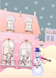 Χιονάνθρωπος καρτών το Violinis και οι γάτες Στοκ Εικόνα