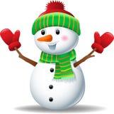 Χιονάνθρωπος κινούμενων σχεδίων που φορά το καπέλο και τα γάντια Στοκ Φωτογραφίες