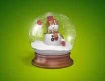 Χιονάνθρωπος μέσα στη σφαίρα γυαλιού Στοκ Εικόνα