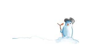 Χιονάνθρωπος με έναν κορμό Στοκ Εικόνες