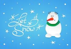 Χιονάνθρωπος με ένα πράσινο μαντίλι Στοκ φωτογραφία με δικαίωμα ελεύθερης χρήσης