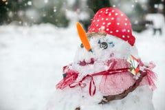 Χιονάνθρωπος με στάσεις μιας τις κόκκινες μύτης στο πάρκο στο χιόνι Στοκ Φωτογραφία