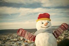 Χιονάνθρωπος με στο καπέλο και τα γάντια Στοκ εικόνα με δικαίωμα ελεύθερης χρήσης