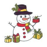 Χιονάνθρωπος με τα δώρα επίσης corel σύρετε το διάνυσμα απεικόνισης διανυσματική απεικόνιση