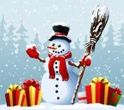 Χιονάνθρωπος με τα χριστουγεννιάτικα δώρα στα πλαίσια χειμερινών δασικών Χριστουγέννων και νέου ενός έτους επίσης corel σύρετε το διανυσματική απεικόνιση