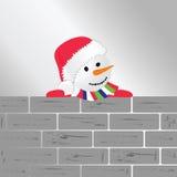Χιονάνθρωπος με τη διανυσματική απεικόνιση τέχνης τουβλότοιχος Στοκ εικόνες με δικαίωμα ελεύθερης χρήσης