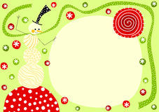 Χιονάνθρωπος με τη κάρτα Χριστουγέννων μαντίλι Στοκ φωτογραφίες με δικαίωμα ελεύθερης χρήσης