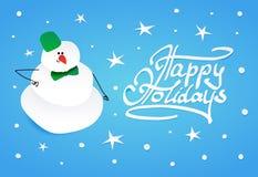 Χιονάνθρωπος με τον πράσινο κάδο και τον πράσινο δεσμό τόξων Στοκ Εικόνα