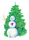 Χιονάνθρωπος με το κωνοφόρο απεικόνιση αποθεμάτων