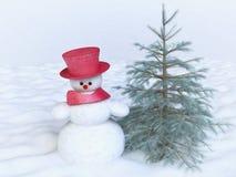 Χιονάνθρωπος με το Red Hat και δέντρο πεύκων στο χειμερινό τομέα ελεύθερη απεικόνιση δικαιώματος