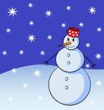 Χιονάνθρωπος με snowflakes στο υπόβαθρο Απεικόνιση αποθεμάτων