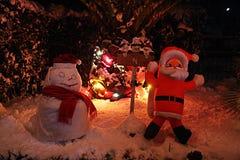 Χιονάνθρωπος νύχτας Στοκ Φωτογραφία