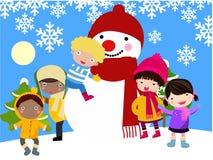 χιονάνθρωπος παιδιών διανυσματική απεικόνιση